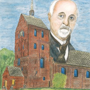 Pastor Abraham Friedrich Köppen (1875 – 1956) vor der St.-Ansgari-Kirche