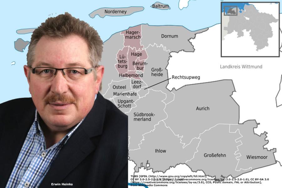 Karte von Hage und OV-Vorsitzender